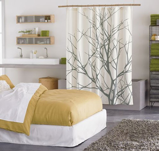 This Affordable Abstract Shower Curtain By CB2 Has A Neutral Color Scheme Which Allows You To Mix In Any Accent Like